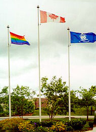 For Simcoe Country Pride Week in August 2007, a rainbow flag was raised at the Opera House in Orillia's town centre